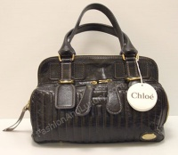 Chloè Woman Black Leather Hund Bag Double Zipper Pocket