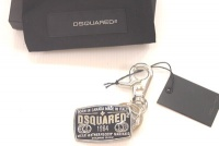 Dsquared Black and Silver Emblem Dsquared 1964 Keychains