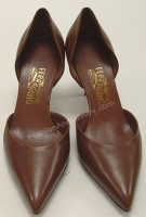 Salvatore Ferragamo Woman's Brown Leather Pump Shoes